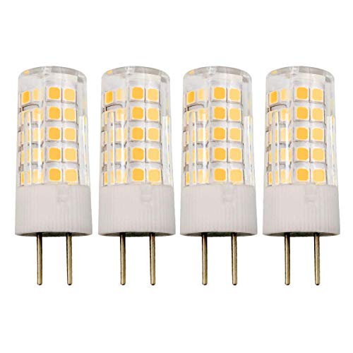 GY6.35 4W LED Lampe G6.35 Bi-Pin Sockel JC Typ AC/DC 12V 3000K Warmweiß 40W T4 GY6.35 Halogen Equivalent, 4er Pack [MEHRWEG] - 50w Gy6.35 Glühbirne