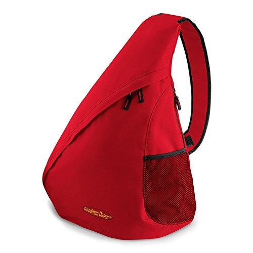 Messenger Hipster Crossbody Bag (Moderner Messenger Dreieck-Rucksack, Umhängetasche, Body Bag, Crossover Sling Bag Farbe: Rot - Goodman Design ®)