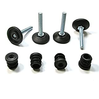 Ajile Kit of M8x50 mm Adjustable Foot and Round 22 mm EXTERIOR Diameter Threaded Insert for Round Tubing Furniture Feet Sets Ready for Installation BLACK Plastic - 4 Pieces - PXR122x4-FBA