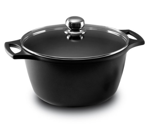 Price comparison product image Castey Fundix  20 cm - 3 Litre Nonstick Cast Aluminium Induction Deep Casserole with Tempered Glass Lid