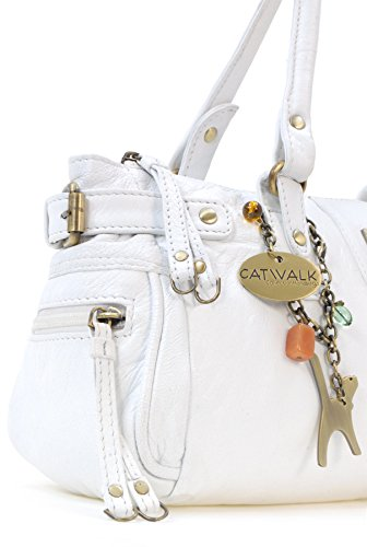 Lederhandtasche Chancery von Catwalk Collection - Größe: B: 34,25 H: 16 T: 9 cm Weiß