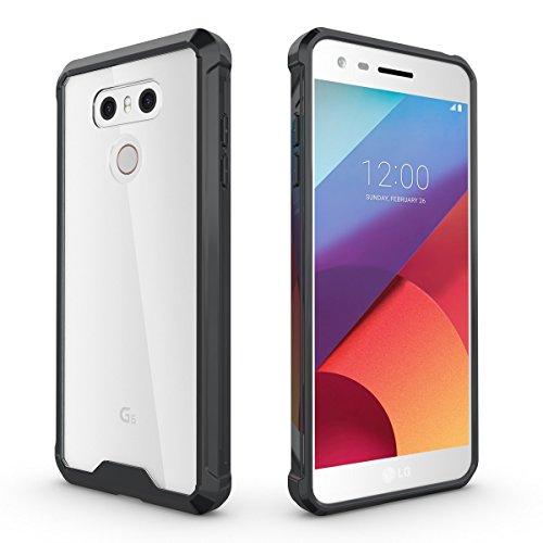 Schutzhülle für LG G6 Hülle, ZCRO Transparent Clear Hart Back Hard Case Handyhülle Silikon Weich TPU Rahmen Frame Bumper Hüllen Schale Stoßfest Etui Handytasche für LG G6 - Schwarz Rahmen