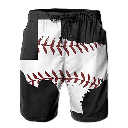 WSTREE ZrGo Men's Texas State Baseaball Laces Quick-Dry Summer Beach Surfing Board Shorts Swim Trunks Cargo Shorts M -
