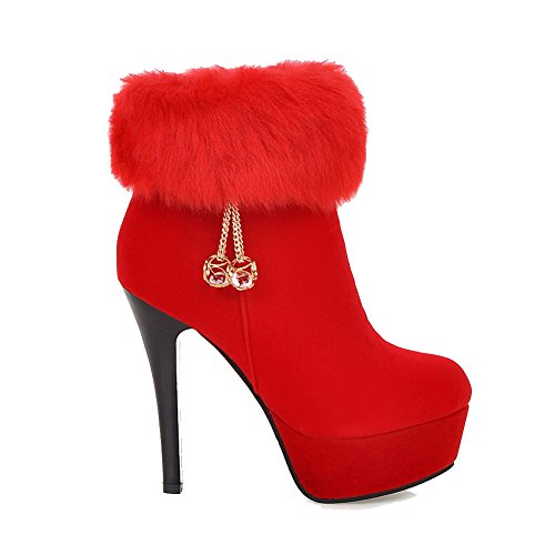 VogueZone009 Damen Nubukleder Niedrig-Spitze Eingelegt Reißverschluss Hoher Absatz Stiefel Rot
