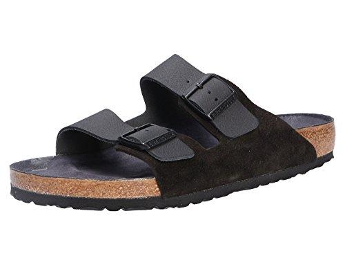 BIRKENSTOCK Arizona Asphalt Damen Sandaletten,Frauen Sandalen,Sommerschuh,Orig Fußbett,bequem, 2 Riemchen,Black,EU 39