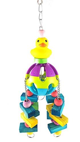 Bird Chew Toy, Papagei Zubehör Little Yellow Entlein Ball Bites Spielzeug Bunte Wood Bead Hängenden Ständer Durable Large Medium Kleine Haustier Rack Play Toy -