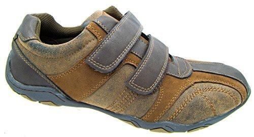 Route21 pour homme Daim Marron aspect cireux Velcro chaussures de sport décontracté Tailles 7 à 12