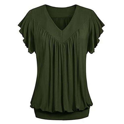 VEMOW Mother's Day Gift Elegant Women Ladies Girls Plus Size Loose V Neck Short Sleeve Solid Color Top Pleated Blouse T-Shirt(Armeegrün, EU-46/CN-2XL)