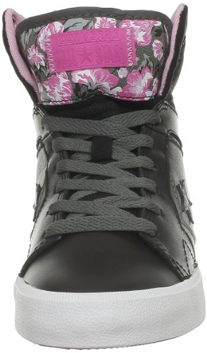 Converse Chuck Taylor All Star 12 Leath Mid, Baskets mode femmes Noir (Noir/Rose)