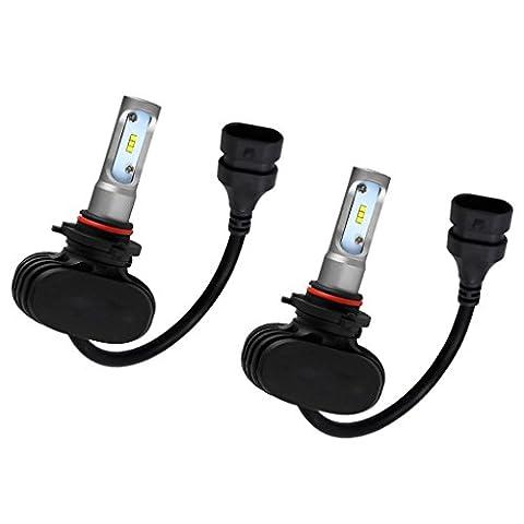Sharplace 2Pcs Phare Feux Voiture Blanc Ampoule Lampe Avant LED 50W 6000K - 9006