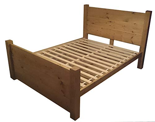 HANDMADE CHUNKY REDWOOD PINE WOOD PANEL BED FRAME IN SINGLE DOUBLE SUPER KING SIZE