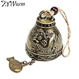 KiWarm Zinc Alloy Dragons Wind Chime Ornament Feng Shui Blessing Bell Lucky Fortune Gift Home Car Hanging Decor Crafts 23x4.5cm