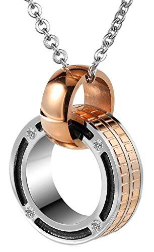 Gnzoe Schmuck, Edelstahl CZ Doppelt Ringe Linked Karo Rose Gold Anhänger Halskette für (Großeltern Kostüm Baby)