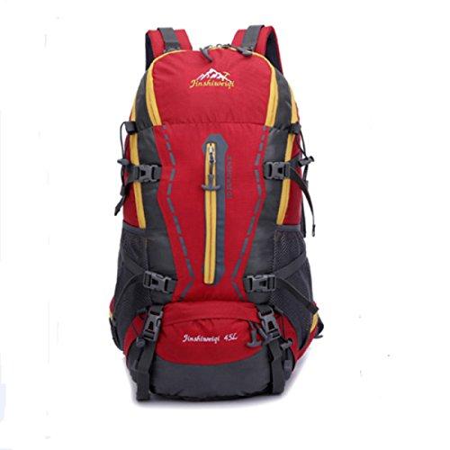 Outdoor Zaino Grande Capacità 50L Viaggi Alpinismo Borsa Con Pioggia La Copertura,Blue-OneSize Red