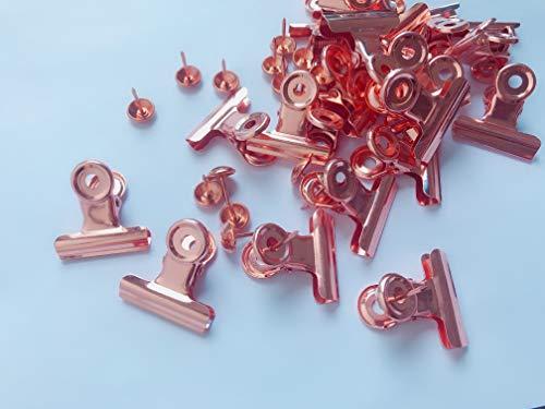 30 Stück Push Pins Clips kreative Büroklammern mit Pins für Cork Board und Foto Wand keine Löcher für das Papier (Rose Gold)