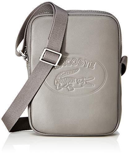 Lacoste - L.12.12 Cuir, Shoppers y bolsos de hombro Hombre, Gris Dark Gull Gray, 3.5x20.5x14.5 cm...