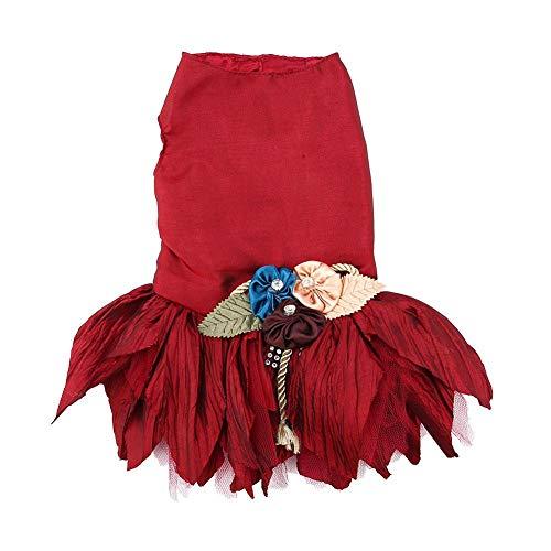 Hund Kleid Unregelmäßige Blume Rock Prinzessin Hochzeit Pet Kleid Schöne Pet Formelle Kleidung Braut Kostüm für Hündchen (Dark Red - Prinzessin Braut Kleid Kostüm Red