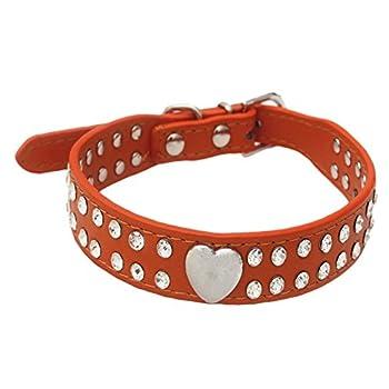 LA VIE Collier Réglable en Cuir PU Décoré avec Strass très Magnifique pour Petit chien Chiot Chat 3 Tailles Disponibles