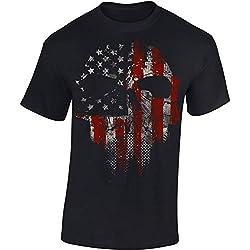 T-Shirt: American Skull - Crâne Américain - USA Tee-Shirt - Motard - Biker - Rock - Chopper - États-Unis - Idée Cadeau - Homme-s Femme-s - United States - Zombie - Horreur - Ciné (XL)