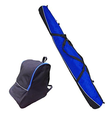 SKITASCHE Skisack 150 160 170 180 und 190 cm für Ski mit Stöcke mit/ohne Skischuhtasche reißfeste Skibag (150cm, BLAU mit Schuhtasche)