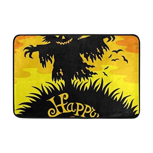 shizh Deco-mat Fußmatte Doormat Fr?hliche Halloween Vogelscheuche Fussmatte Innen,rutschfest,waschbar Schmutzfangmatte-Fussabtreter-Türmatte 40x60 cm