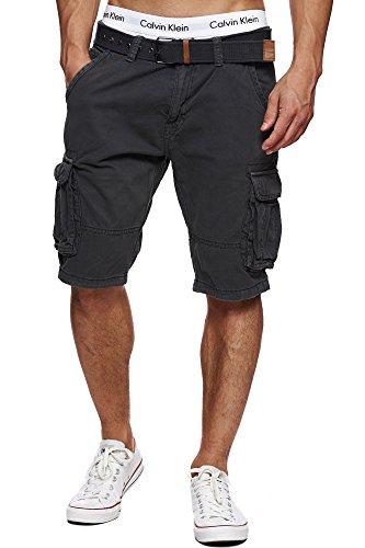 Indicode Herren Monroe Cargo ZA Cargo Shorts Bermuda Kurze Hose mit Gürtel Raven XXL Straight Leg Zip Fly Jeans