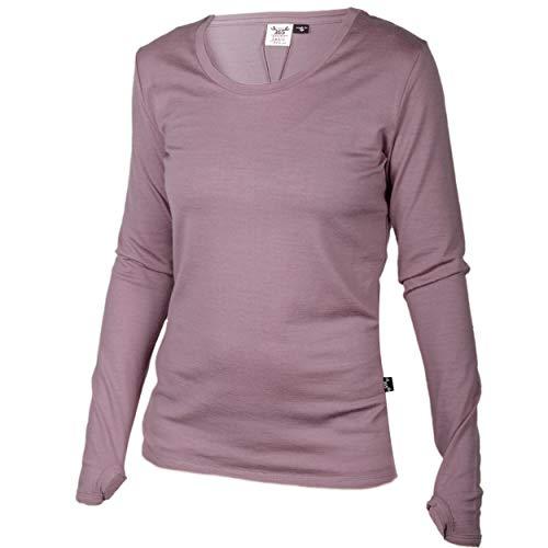 Medium Long Sleeve Top (Merino 365 Damen Neuseeland Merino, Lange Ärmel Top, thumbloops, Damen, Magenta, Medium)