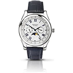 Sekonda Men's Quartz Watch with Silver Dial Analogue Display and Blue Leather Strap 3504.27