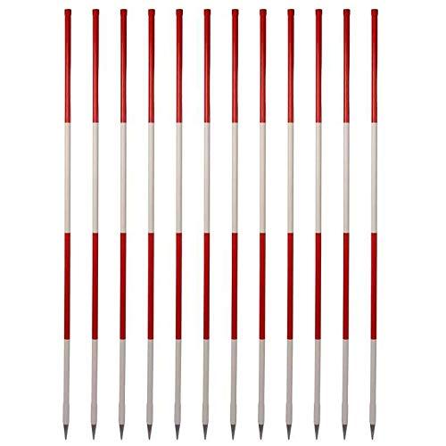 Holz-Fluchtstäbe (12 Stück-Vorteilspack) - Bau-Qualität, 2m, runde Stahlspitze, PVC Mantel