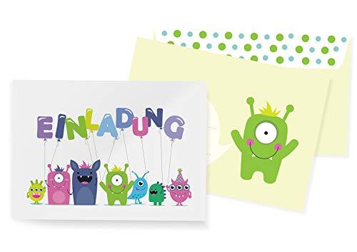 Friendly Fox Einladungen Monster - 12 Monster Einladungskarten zum Geburtstag Kinder Junge Mädchen - Einladung Kindergeburtstag - Partyeinladung Monster - inkl. passende Umschläge (Monster 1) (Geburtstag Monster 1.)