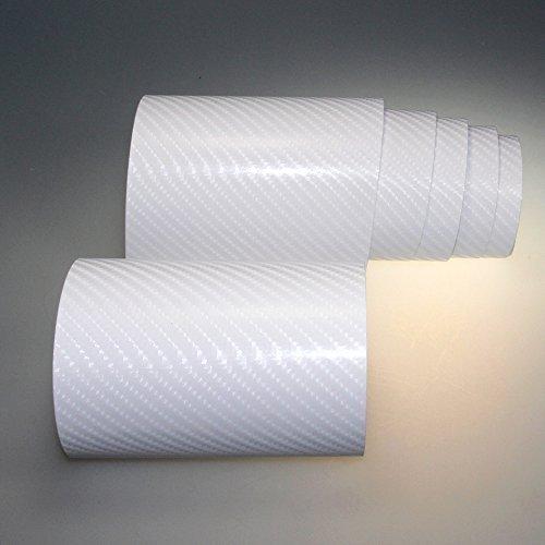 TipTopCarbon 4D Carbon Folie weiß BLASENFREI 0,3m x 1,52m mit Luftkanäle