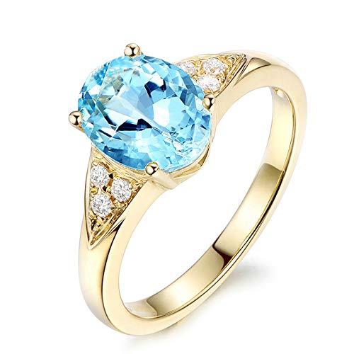 SonMo Ring Anillos Oro y Diamantes Anillos Compromiso de Plata de Ley...