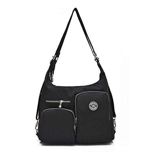 Outreo Taschen Damen Umhängetasche Mädchen Schultertasche Kuriertasche Reisetasche Handtasche Messenger Bag Designer Wasserdichte Sporttasche für Strandtasche Nylon Schwarz