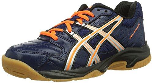 Asics GEL-SQUAD GS, Unisex - Kinder Handballschuhe, blau (NAVY/LIGHTNING/NEON orange 5093), 39 EU (5 Kinder UK)