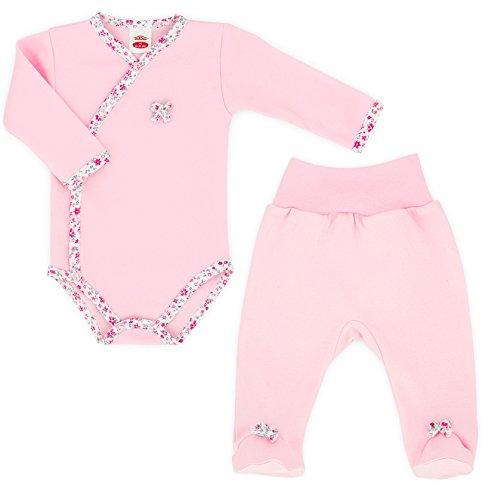 baby-mode-erstausstattung-di-2-body-da-neonato-pantaloni-con-piede-collezione-small-bow-56-68-bianco