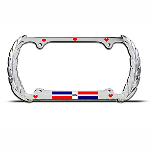 Mond Herz Dominikanische Republik Flagge König Nummernschild Rahmen Auto SUV Tag Bordüre Perfekt für Männer Frauen Auto Garadge Dekor -