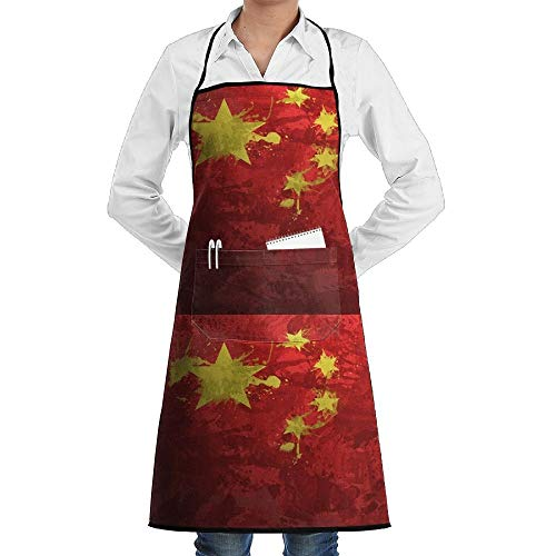 dfgjfgjdfj Oil Paint China Flag Schürze Lace Adult Mens Womens Chef Adjustable Polyester Long Full Black Cooking Kitchen Schürzes Bib with Pockets for Restaurant Baking Crafting Gardening BBQ - China Lady Kostüm