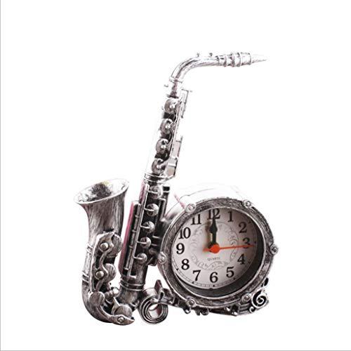 MOOMDDY Desktop-Wecker Retro-Musikinstrument Saxophon Wecker Desktop-Uhr Wohnzimmer Plastik Wecker