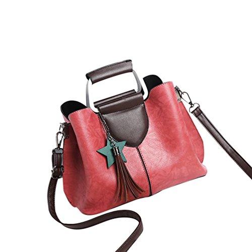 YouPue 2017 Neue Frauen Handtaschen Kunstleder Crossbody Schulterbeutel Tasche Quaste Ornamente Rot 02