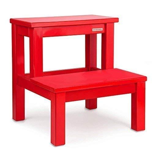 NATUREHOME Basic Tritthocker Buche 40x40x40cm - Rot lackiert Stabiler WC Hocker aus massivem Holz 2 Stufen Tritt Sitzhocker für Kinder und Erwachsene - Schlafzimmer Lackiert Beistelltisch