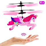 Unicorn Toys Gifts for Girls 6 Years OldRC Flying Fairy Toy Pink Mini Remote and Hand Controlled Unicorn Helicopter Doll for Birthday