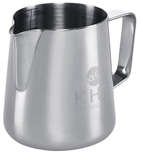 Milchkännchen 350ml von KHP Professional, perfekt für Milchaufschäumer, aus rostfreiem Edelstahl, Milch aufschäumen, silber, Milchkanne, Cafe Art, Milchschaum, Aufschäumkännchen - 5