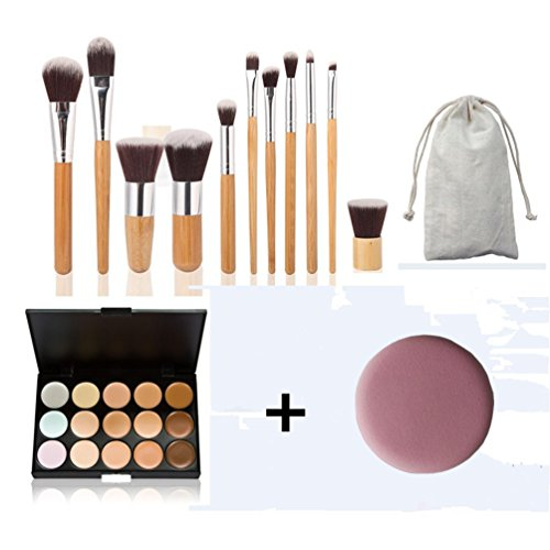 timesong Manette Poignée en Bambou Pinceaux + 15 couleurs maquillage correcteur Palette + sans Puff
