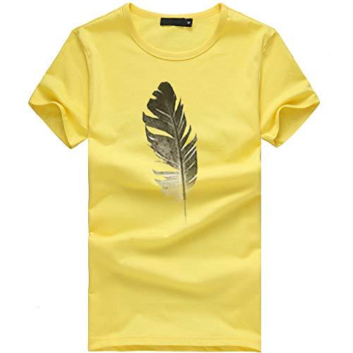 iHENGH Damen Top Bluse Bequem Lässig Mode T-Shirt Frühling Sommer Blusen Frauen Lose Oansatz Spitze der Art und Weisefrauen kurzärmliges Blatt Druck(Gelb, L)