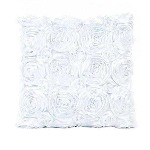 LONUPAZZ Taie D'Oreiller BrodéE Rose Coussin Canapé Taille Throw Housse De Coussin DéCor À La Maison 43x43 (Blanc)