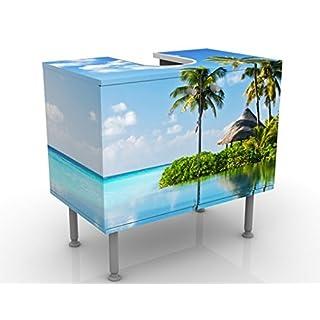 Design Vanity Tropical Paradise 60x55x35cm, small, 60cm wide, adjustable, wash basin, vanity unit, washstand, bathroom cupboard, base unit, bathroom, narrow, flat