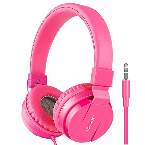 Gorsun® Premium Kinderkopfhörer, Faltbare Kopfhörer für Kinder, verstellbare Leicht-Kopfhörer für Jungen und Mädchen-Rosa (Anpassbare Uhren-box)