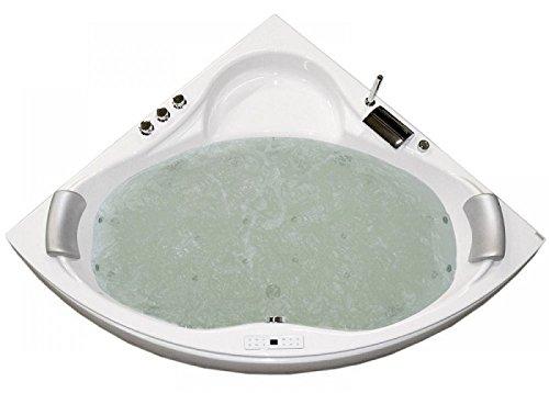 Whirlpool Badewanne Karibik Basic MADE IN GERMANY mit 13 Massage Düsen + Unterwasser Beleuchtung / Licht + Balboa + MIT Armaturen Eckwanne Jakuzzi Spa runde Eckbadewanne innen - 9