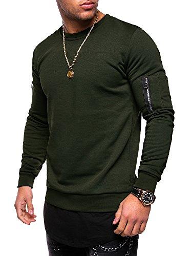Und 1 Pullover (MT Styles 2in1 Longline MA-1 Sweatshirt Pullover MT-022 [Khaki, L])