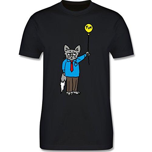 Nerds & Geeks - Workaholic cat - Herren Premium T-Shirt Schwarz